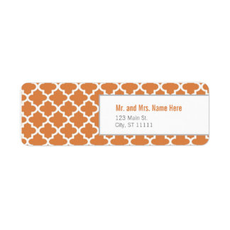Orange Moroccan Tiles Return Address Label