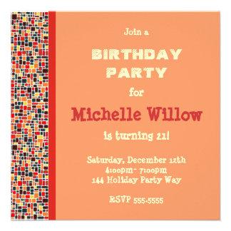 Orange Mosaic Birthday Party Invitation