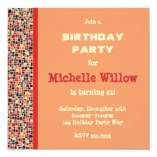 "Orange Mosaic Birthday Party Invitation 5.25"" Square Invitation Card"