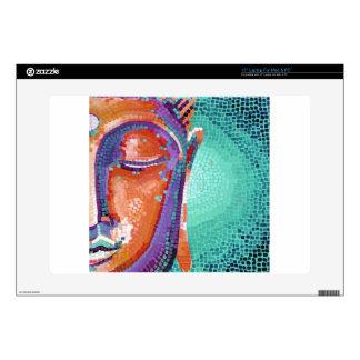"""Orange mosaic buddha face 15"""" laptop decals"""