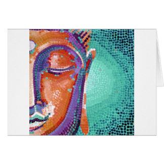 Orange mosaic buddha face greeting card