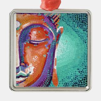 Orange mosaic buddha face metal ornament