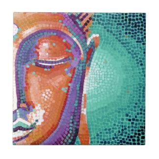 Orange mosaic buddha face small square tile