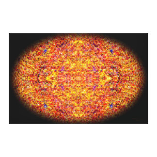 Orange Mosaic Oval Mandala Canvas Print