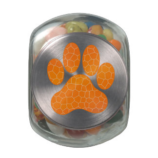 Orange Mosaic Tile Paw Print Design Glass Candy Jars