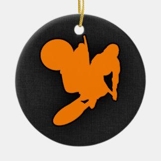 Orange Motocross Double-Sided Ceramic Round Christmas Ornament