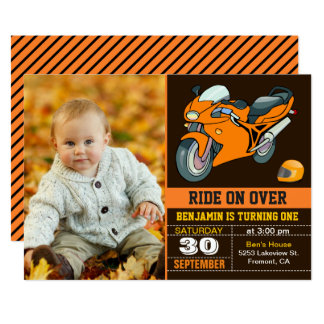 Orange Motorcycle Racing First Birthday Invitation