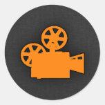 Orange Movie Camera Classic Round Sticker