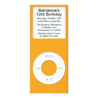 Orange MP3 Player iParty Birthday Party Card