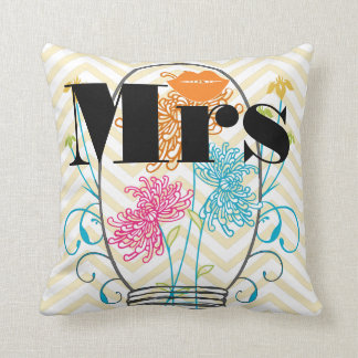 Orange Mrs Lips Pale Yellow Zig Zag Mason Jar Throw Pillow