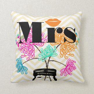Orange Mrs Lips Pale Yellow Zig Zag Mason Jar Throw Pillow
