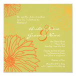 "Orange Mum Flowers Wedding Invitation 5.25"" Square Invitation Card"
