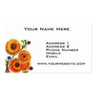 Orange Mums Double-Sided Standard Business Cards (Pack Of 100)