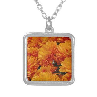 Orange Mums Silver Plated Necklace
