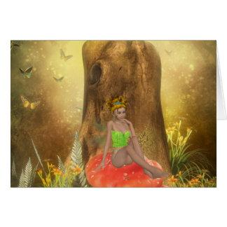 Orange Mushroom Fairy Card