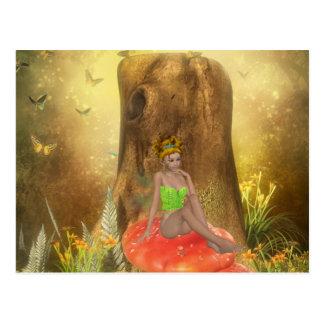 Orange Mushroom Fairy Postcard