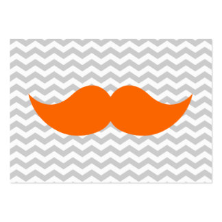 Orange Mustache Gray Chevron Stripe Large Business Cards (Pack Of 100)
