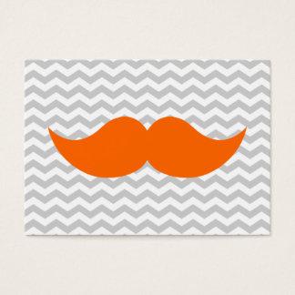 Orange Mustache Gray Chevron Stripe Business Card
