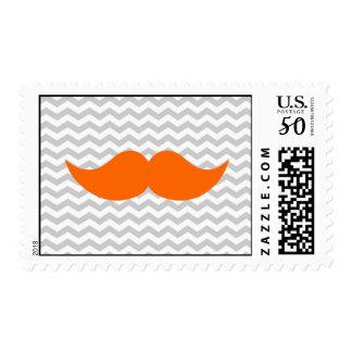 Orange Mustache Gray Chevron Stripe Postage