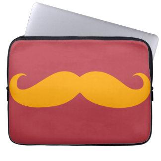 Orange Mustache Laptop Computer Sleeve