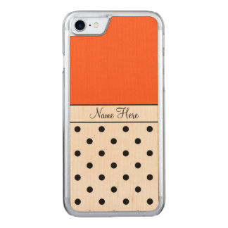 Orange Name, Black Polka Dots Carved iPhone 7 Case
