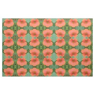 Orange Nasturtium Flower Floral Patterned Fabric