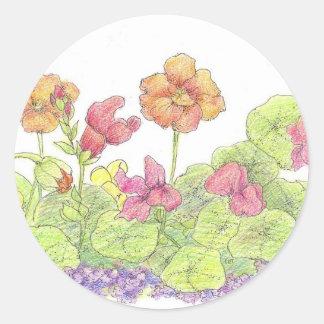 Orange Nasturtiums Cottage Flower Garden Art Classic Round Sticker