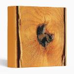 Orange natural wood with black hole and spiderweb vinyl binders
