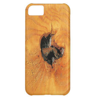 Orange natural wood with black hole and spiderweb case for iPhone 5C