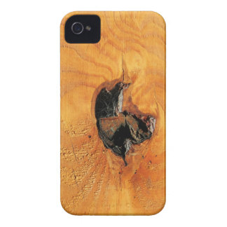 Orange natural wood with black hole and spiderweb iPhone 4 case