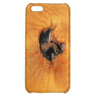 Orange natural wood with black hole and spiderweb iPhone 5C case