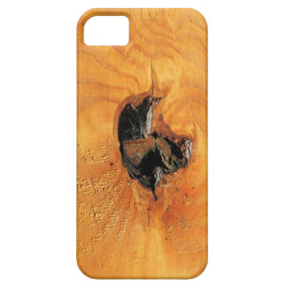 Orange natural wood with black hole and spiderweb iPhone SE/5/5s case