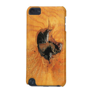 Orange natural wood with black hole and spiderweb iPod touch 5G cover