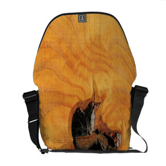 Orange natural wood with black hole and spiderweb messenger bag