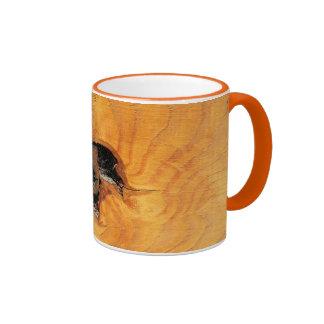 Orange natural wood with black hole and spiderweb ringer mug