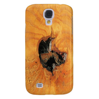 Orange natural wood with black hole and spiderweb samsung s4 case