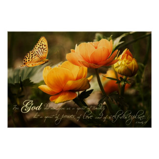 Orange Nature Spiritual Scripture Verse Poster