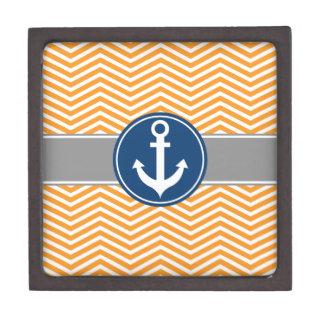 Orange Nautical Anchor Chevron Gift Box