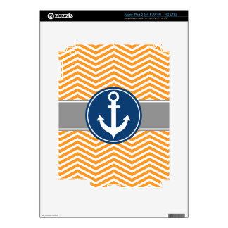 Orange Nautical Anchor Chevron iPad 3 Skin