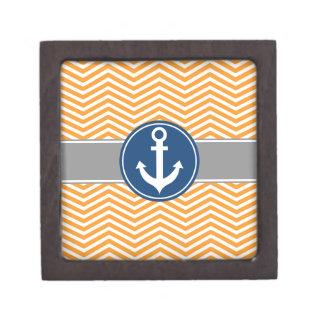 Orange Nautical Anchor Chevron Jewelry Box