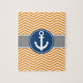 Orange Nautical Anchor Chevron Jigsaw Puzzle
