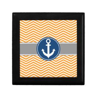 Orange Nautical Anchor Chevron Keepsake Box