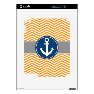 Orange Nautical Anchor Chevron Skins For iPad 2