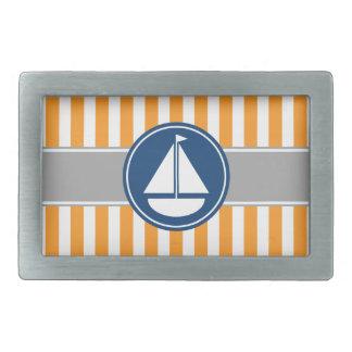 Orange Nautical Sailboat Stripes Belt Buckle