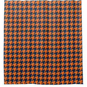 Orange Navy Blue Houndstooth Shower Curtain