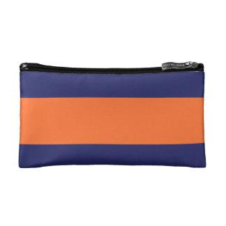 Orange & Navy Blue Large Stripe Small Cosmetic Bag