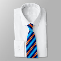 Orange Navy Blue Stripes Neck Tie