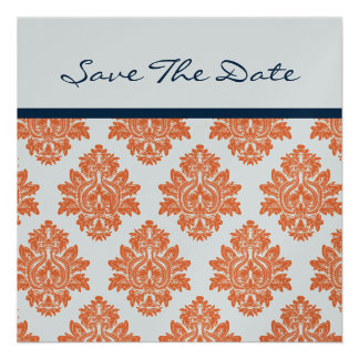 Orange Navy Damask metallic Save the date Personalized Announcements