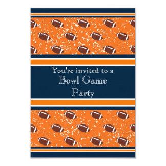 Orange & Navy Footballs Bowl Game/Birthday Party Card