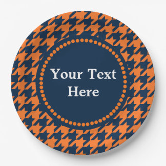 Orange/Navy Houndstooth Paper Plate